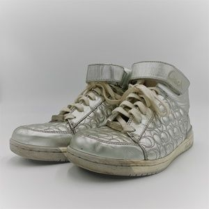 Coach Silver Signature High Top Sneakers